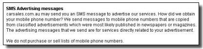 The car sales website explains how it gathers mobile phone numbers for delivering SMS text messages.